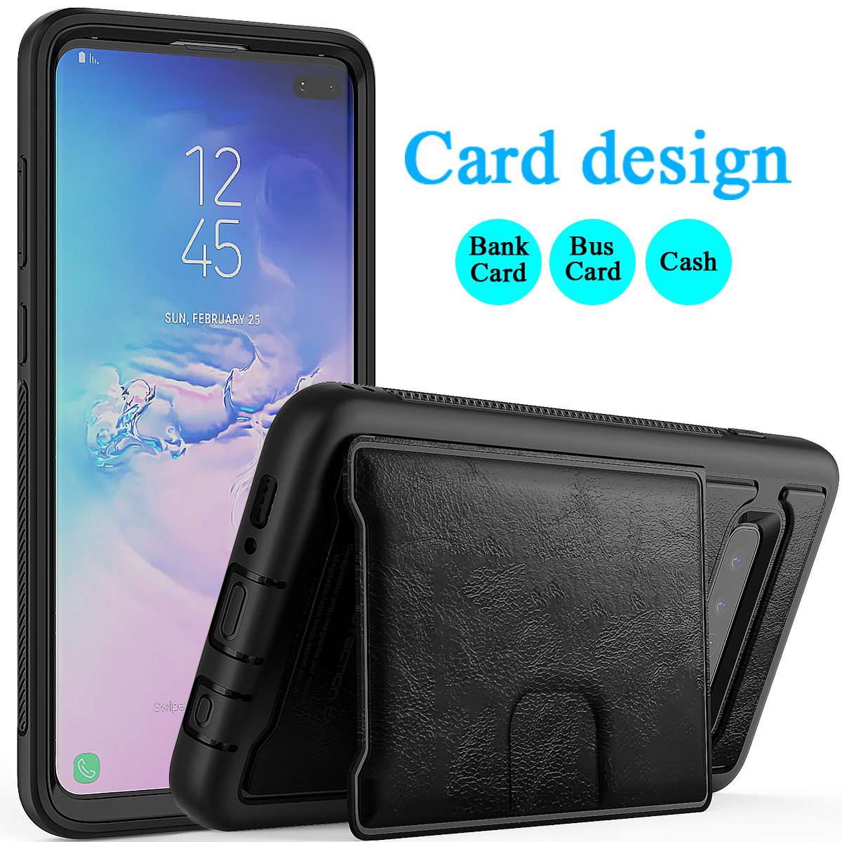 PU-Leather-Credit-Card-Holder-Phone-Case-For-Samsung-Galaxy-S10-Plus-S10e-2019 thumbnail 14