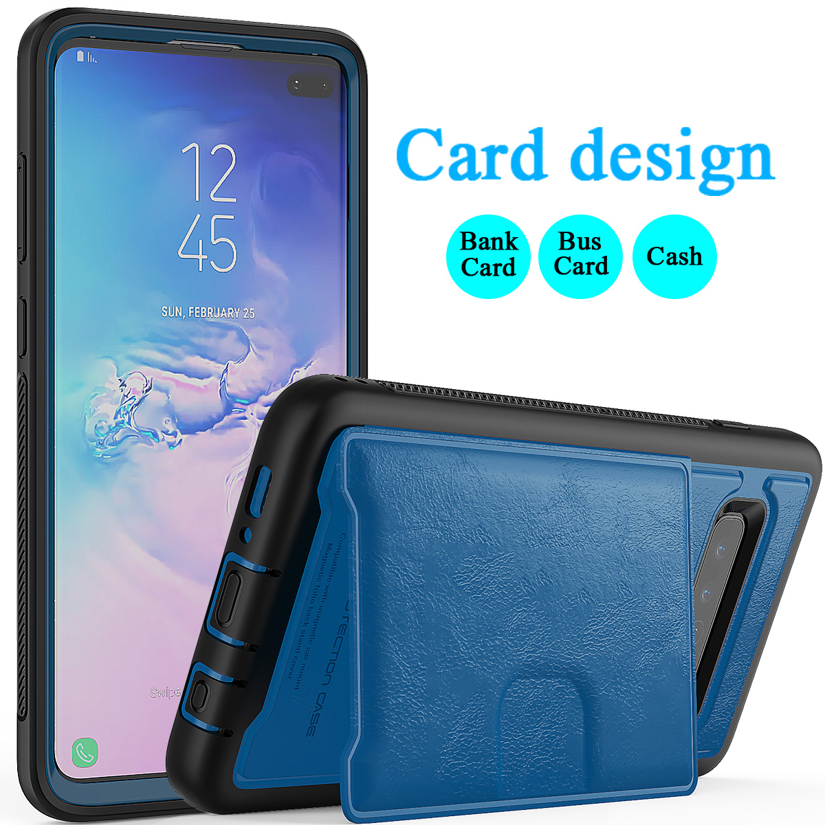 PU-Leather-Credit-Card-Holder-Phone-Case-For-Samsung-Galaxy-S10-Plus-S10e-2019 thumbnail 34