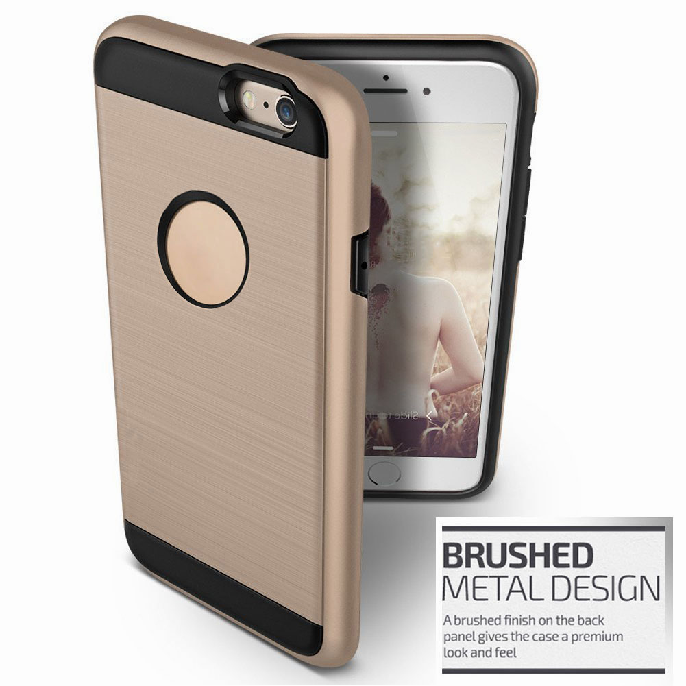 hybrid shockproof slim brushed hard case cover for iphone. Black Bedroom Furniture Sets. Home Design Ideas
