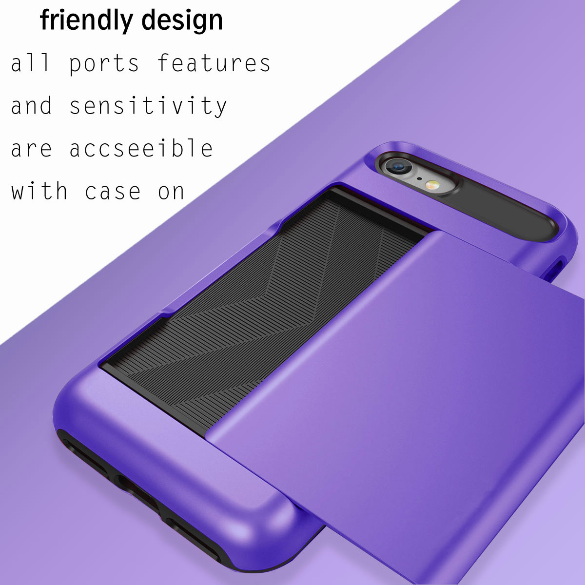 For iPhone 6 6s Plus Heavy Credit Card Holder Wallet Hard
