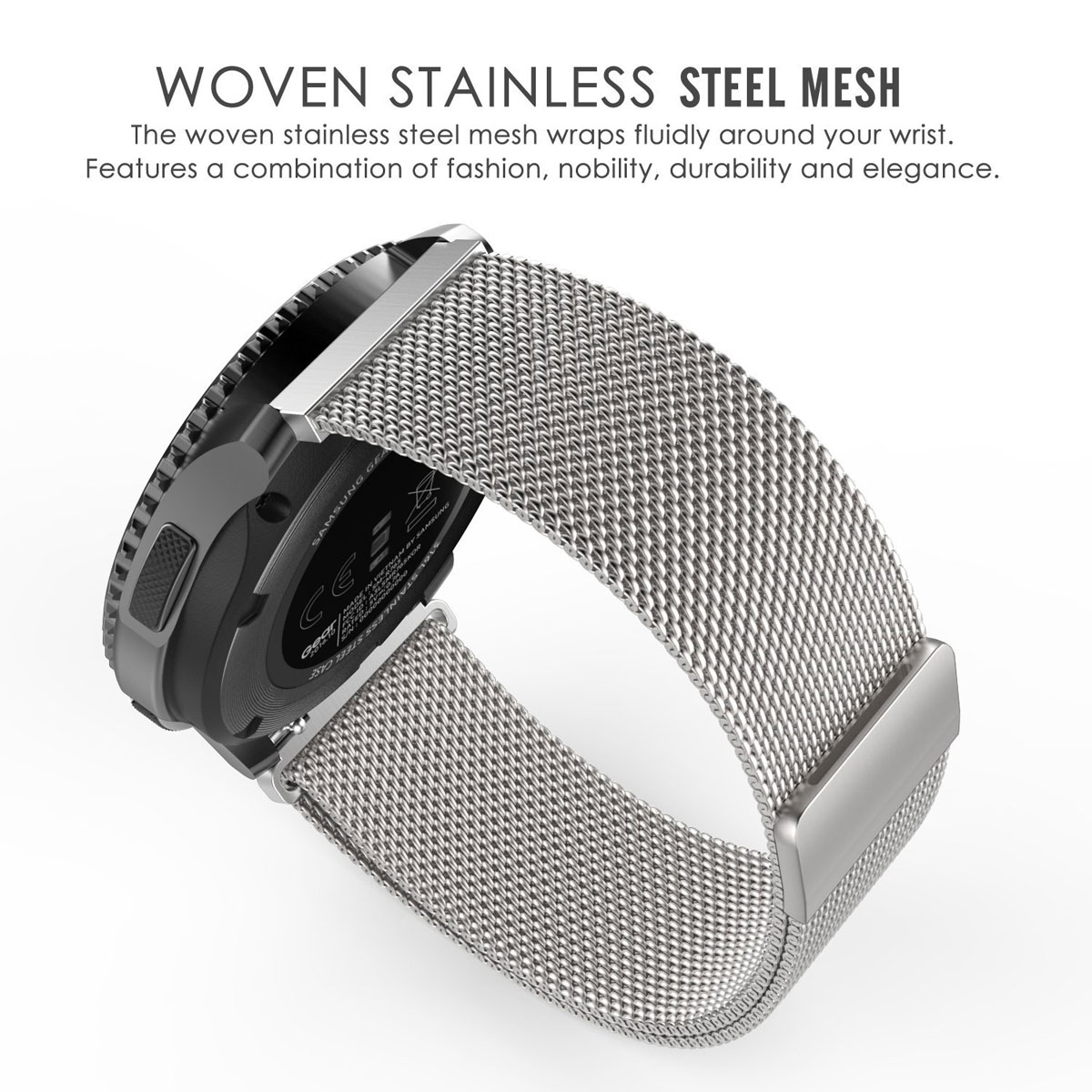 watch silver products manooco mesh watches strap zephyr from black metal