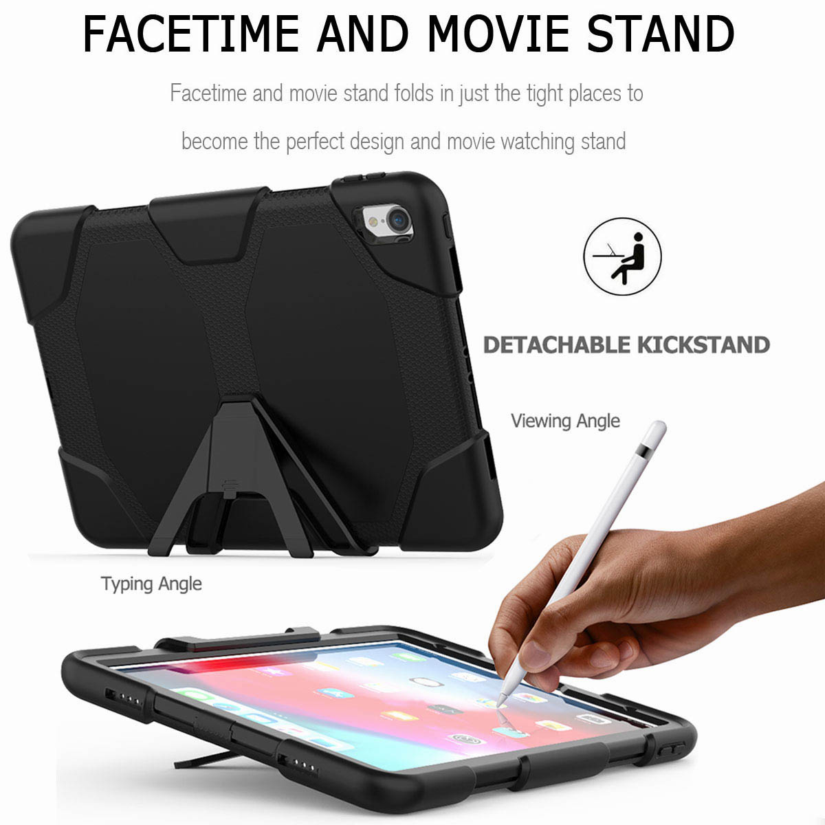 For-iPad-Pro-11-039-039-2018-Shockproof-Hybrid-Rugged-Stand-Case-with-Screen-Protector thumbnail 16