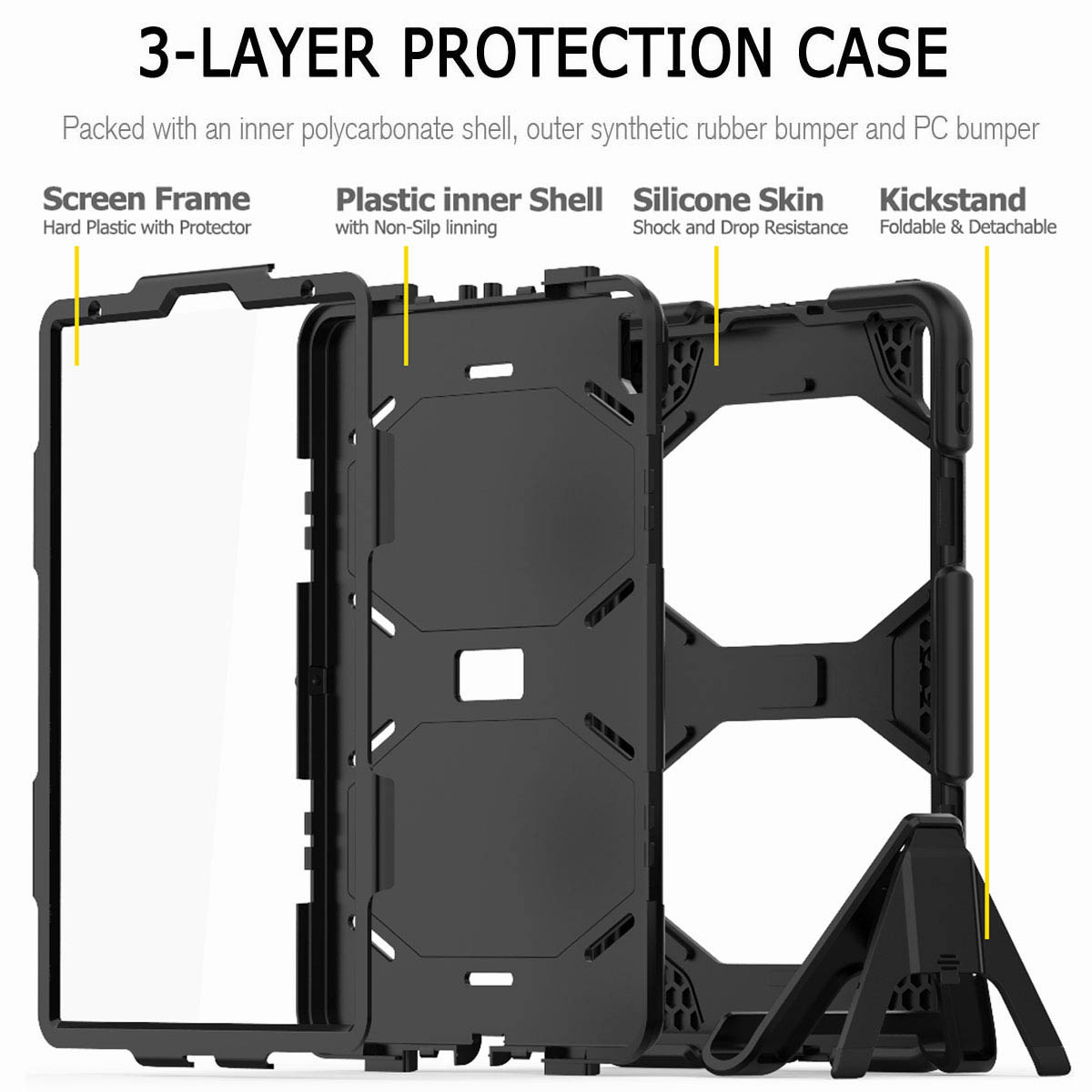 For-iPad-Pro-11-039-039-2018-Shockproof-Hybrid-Rugged-Stand-Case-with-Screen-Protector thumbnail 17