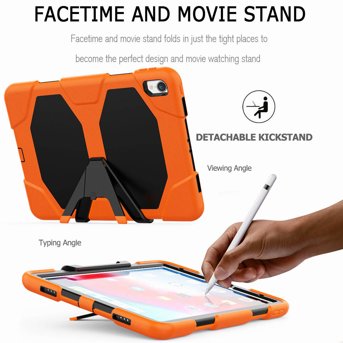 For-iPad-Pro-11-039-039-2018-Shockproof-Hybrid-Rugged-Stand-Case-with-Screen-Protector thumbnail 23