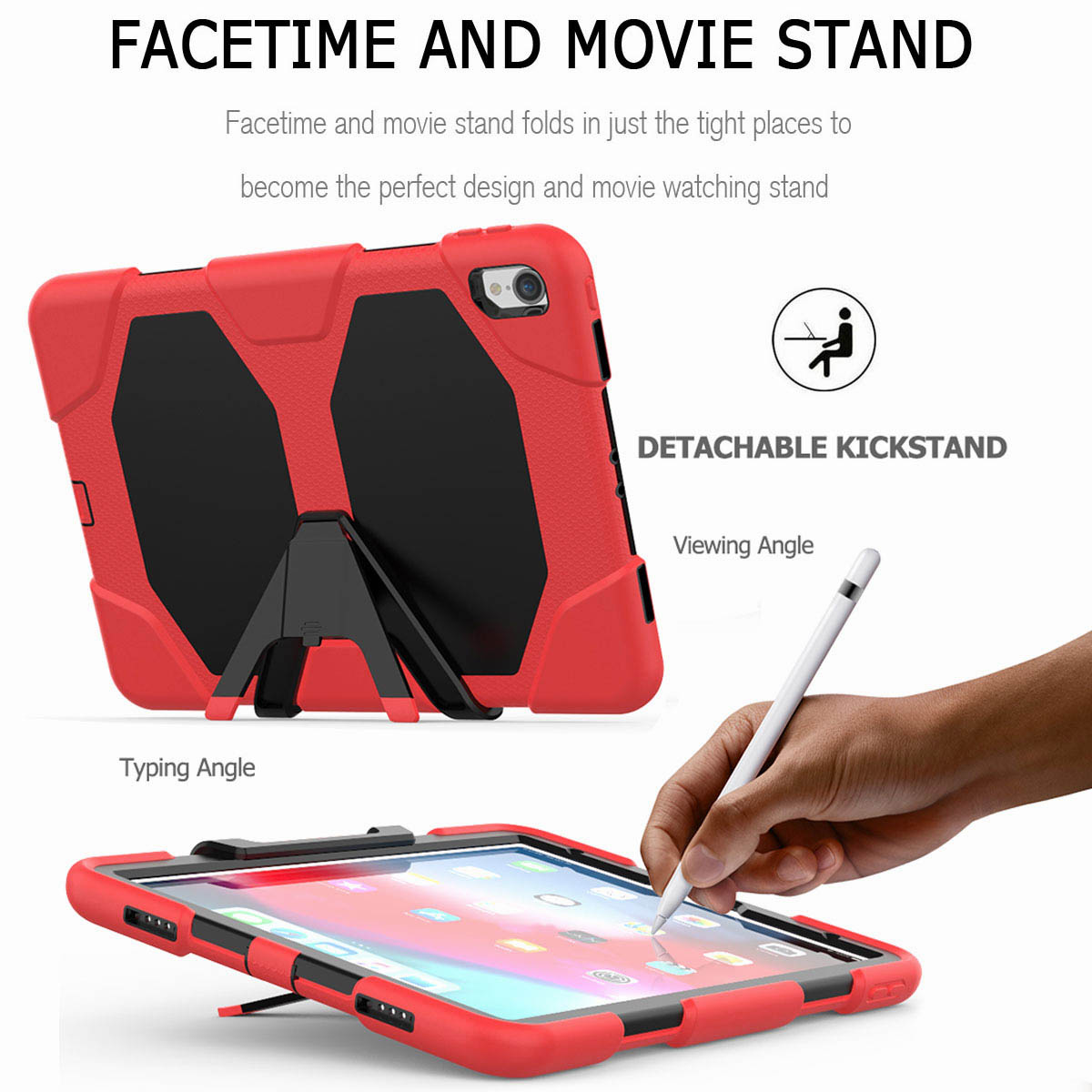 For-iPad-Pro-11-039-039-2018-Shockproof-Hybrid-Rugged-Stand-Case-with-Screen-Protector thumbnail 30