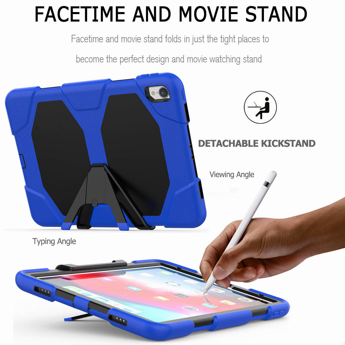 For-iPad-Pro-11-039-039-2018-Shockproof-Hybrid-Rugged-Stand-Case-with-Screen-Protector thumbnail 37