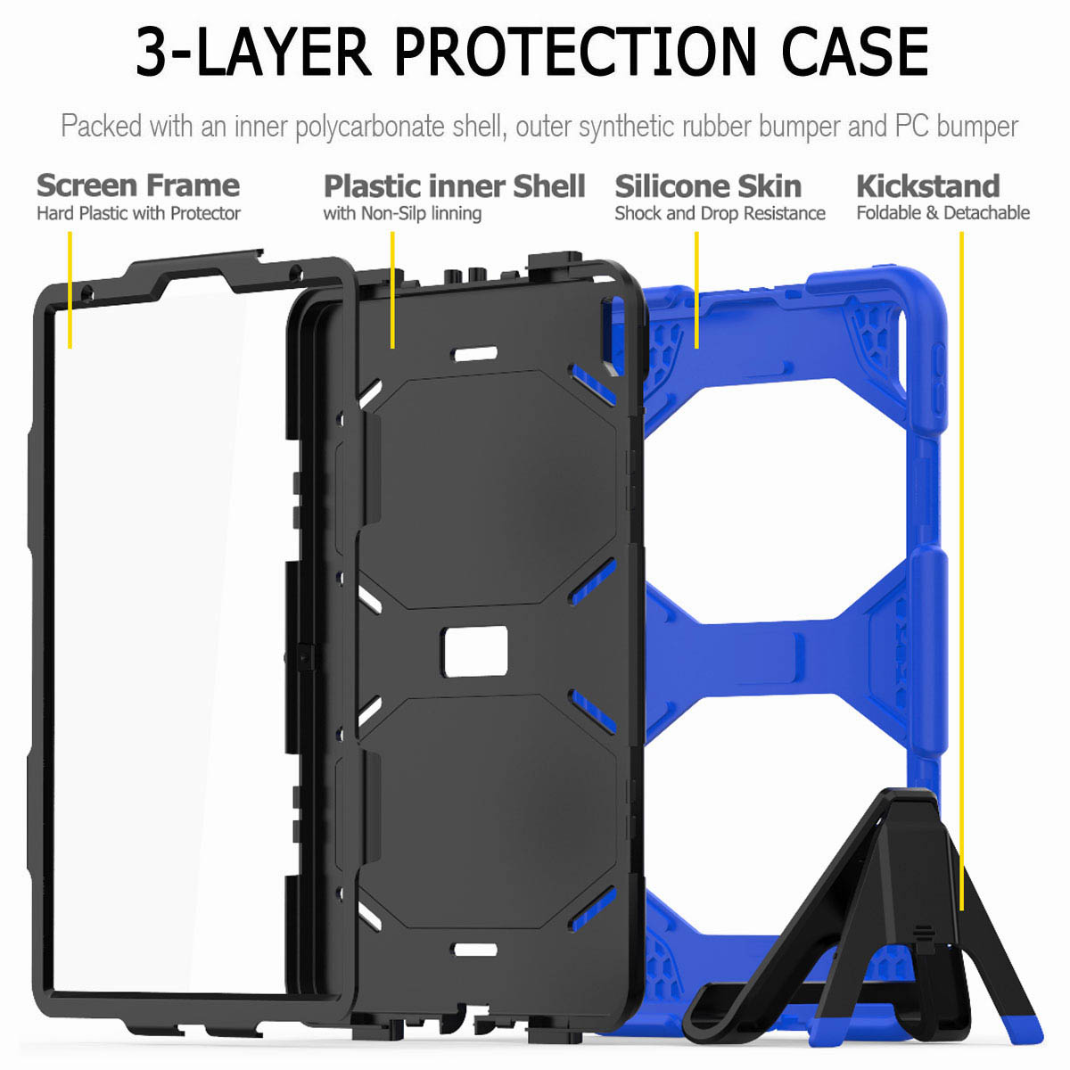 For-iPad-Pro-11-039-039-2018-Shockproof-Hybrid-Rugged-Stand-Case-with-Screen-Protector thumbnail 38
