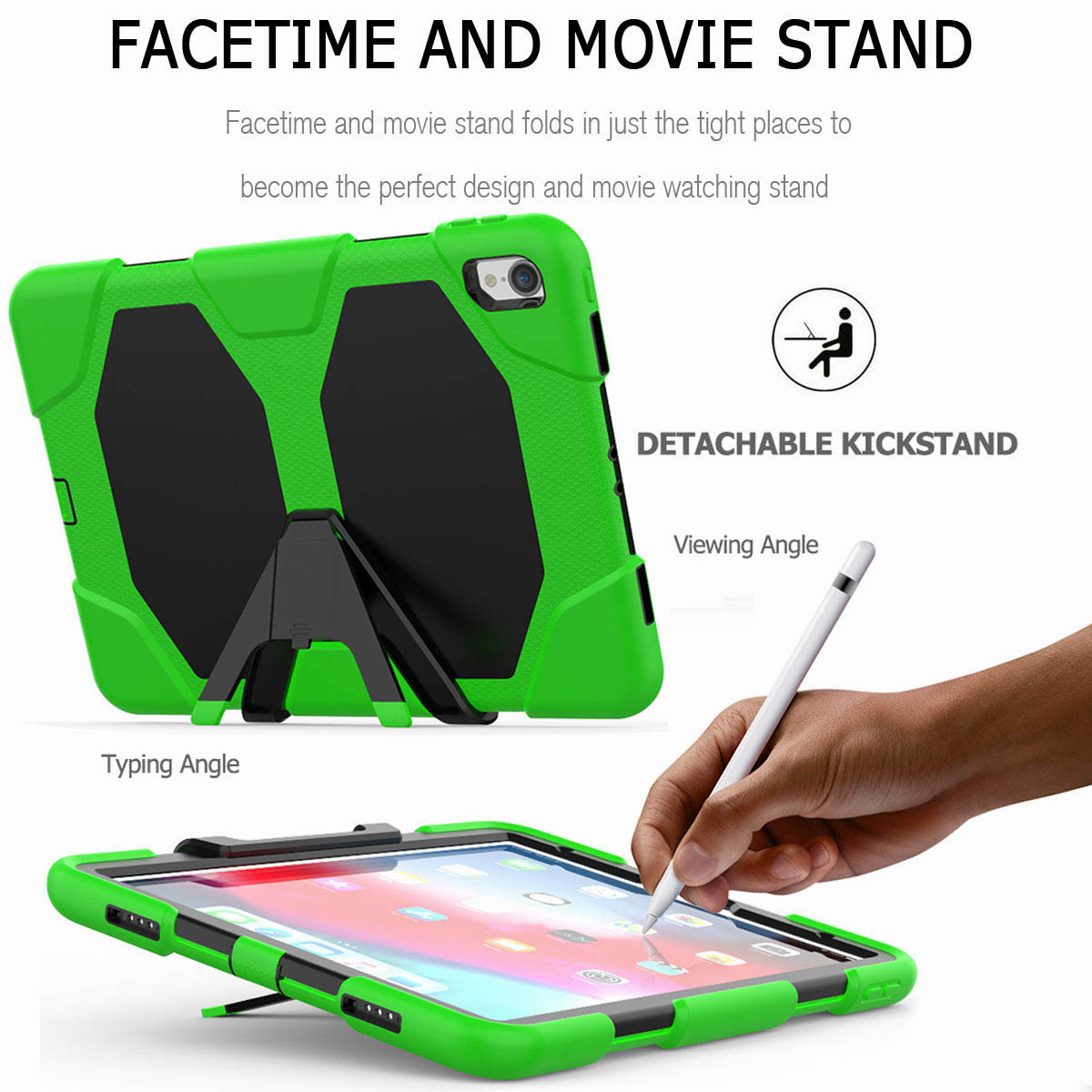 For-iPad-Pro-11-039-039-2018-Shockproof-Hybrid-Rugged-Stand-Case-with-Screen-Protector thumbnail 44