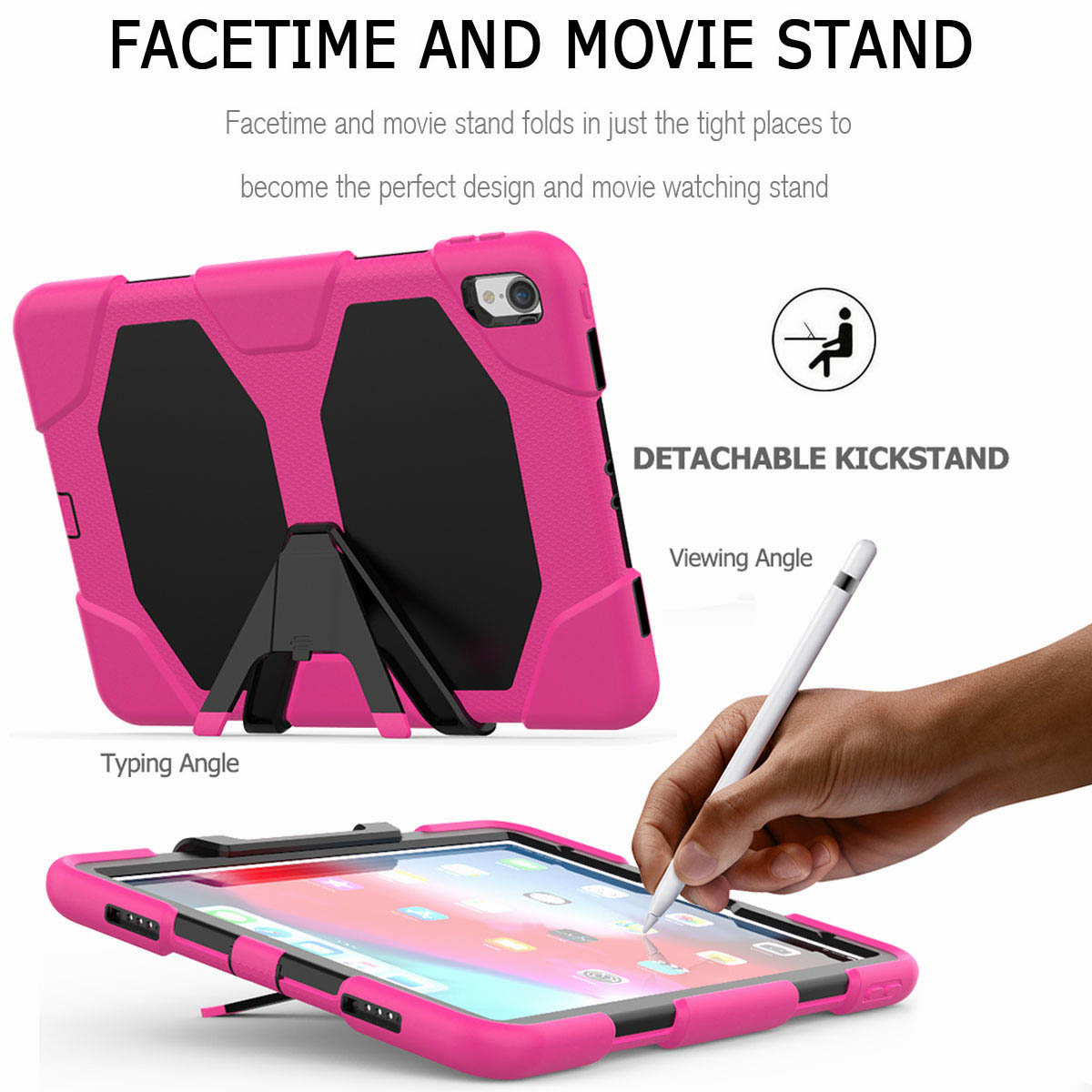For-iPad-Pro-11-039-039-2018-Shockproof-Hybrid-Rugged-Stand-Case-with-Screen-Protector thumbnail 51