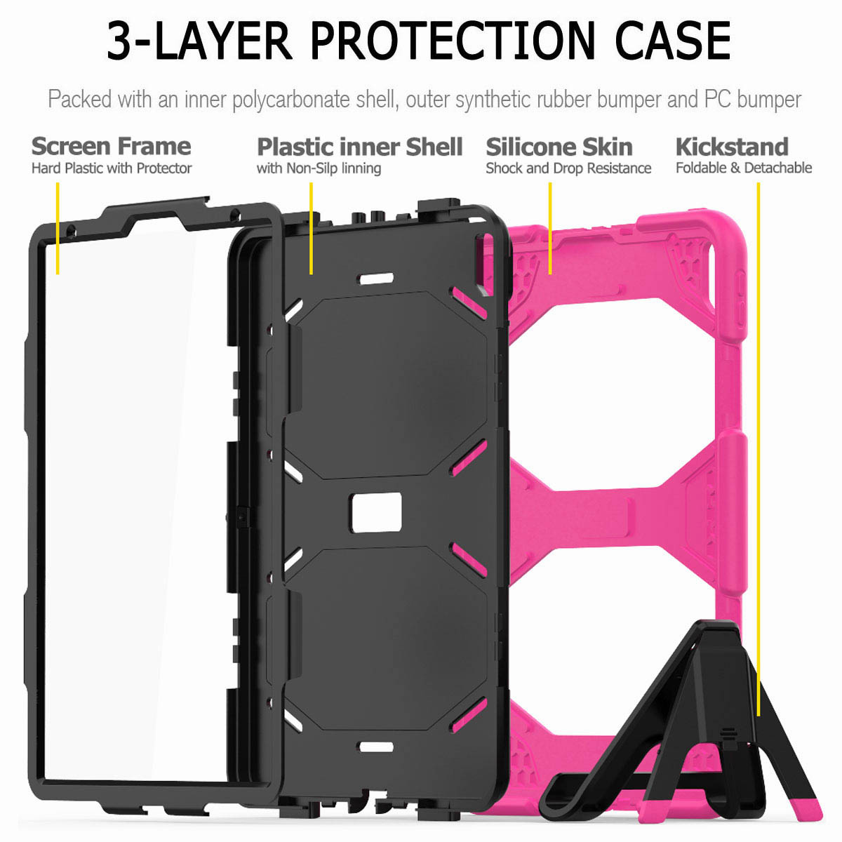 For-iPad-Pro-11-039-039-2018-Shockproof-Hybrid-Rugged-Stand-Case-with-Screen-Protector thumbnail 52