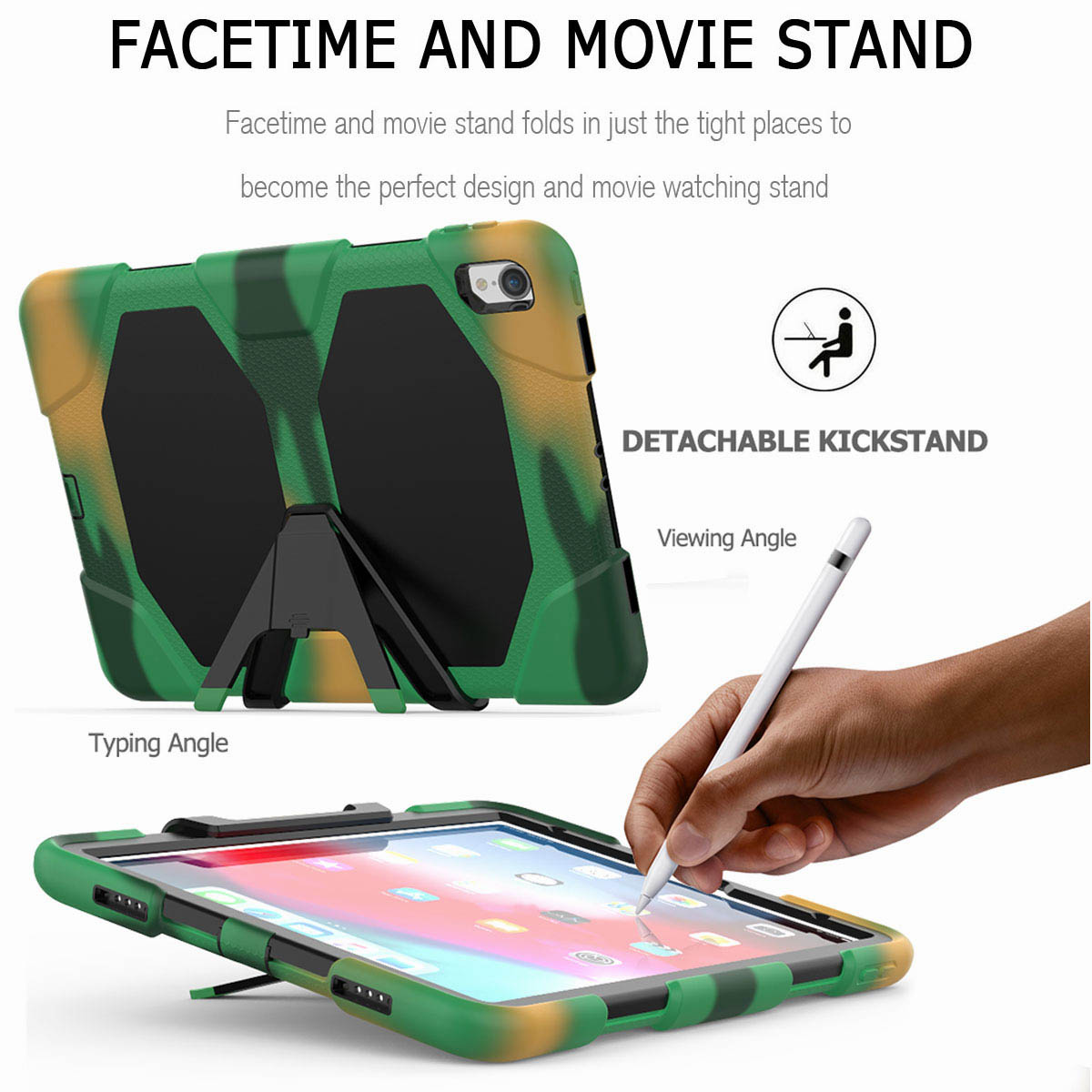 For-iPad-Pro-11-039-039-2018-Shockproof-Hybrid-Rugged-Stand-Case-with-Screen-Protector thumbnail 58
