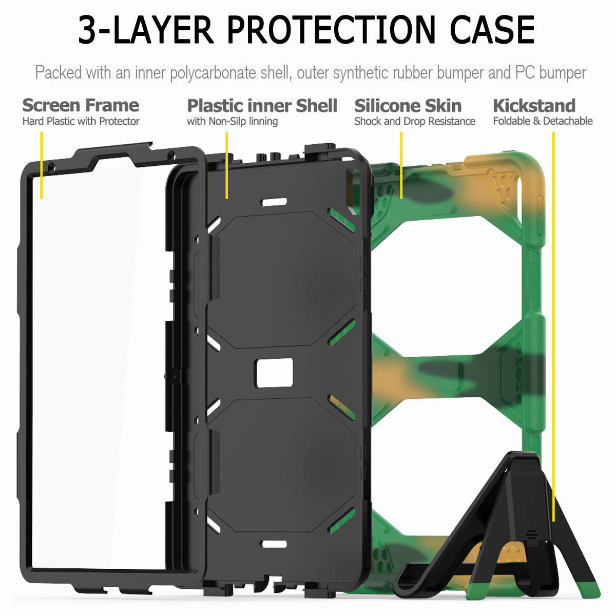 For-iPad-Pro-11-039-039-2018-Shockproof-Hybrid-Rugged-Stand-Case-with-Screen-Protector thumbnail 59