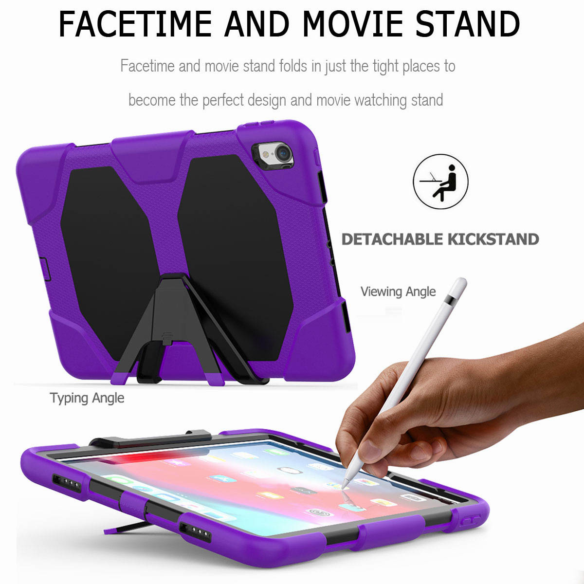 For-iPad-Pro-11-039-039-2018-Shockproof-Hybrid-Rugged-Stand-Case-with-Screen-Protector thumbnail 65