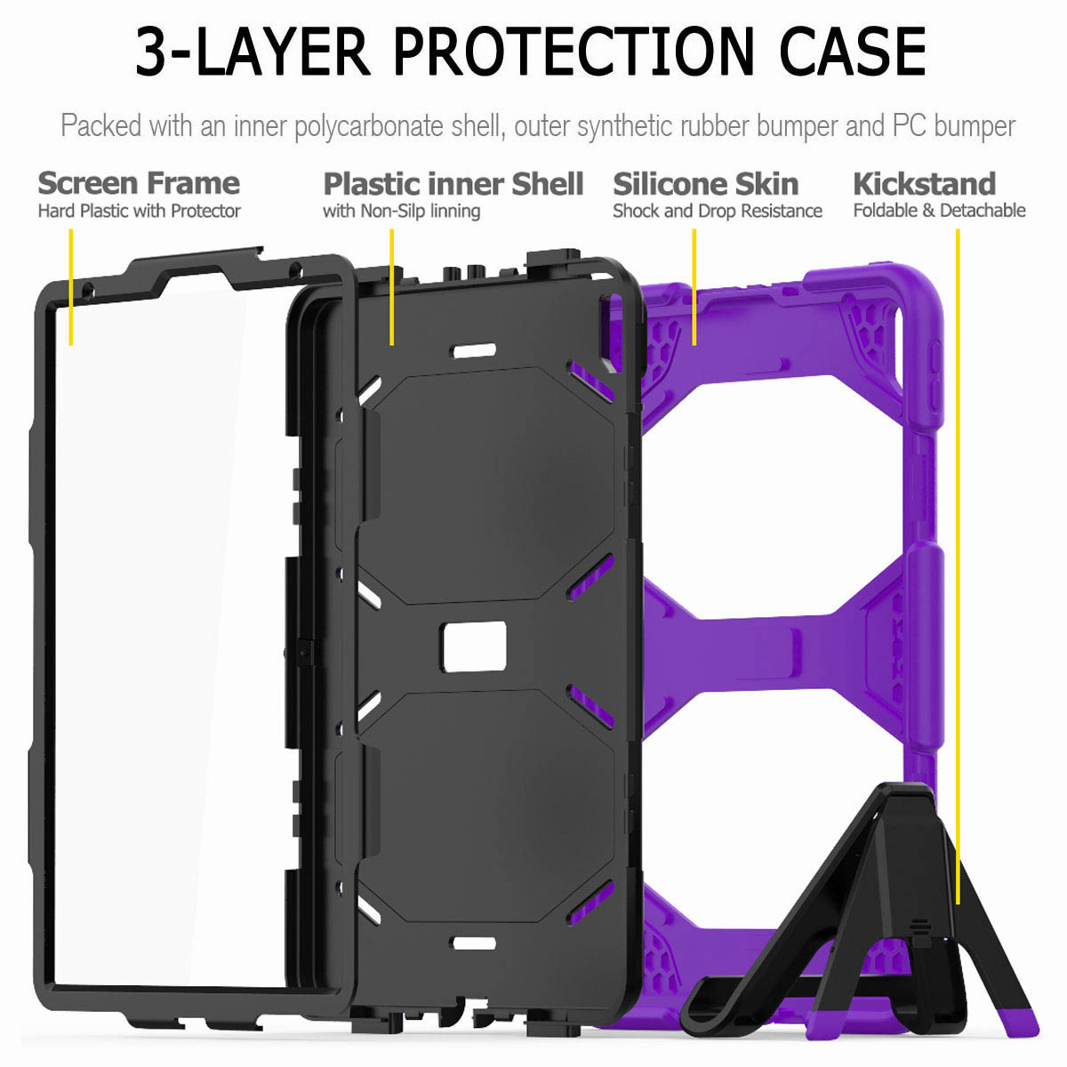 For-iPad-Pro-11-039-039-2018-Shockproof-Hybrid-Rugged-Stand-Case-with-Screen-Protector thumbnail 66