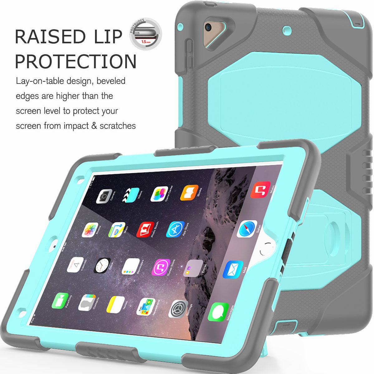 Hybrid-Rubber-Heavy-Duty-Shockproof-Case-Cover-For-iPad-9-7-6th-Generation-2018 thumbnail 93